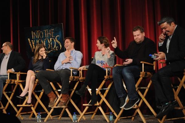 James Lapine, Anna Kendrick, Chris Pine, Emily Blunt, James Corden and mediator Eugene Hernandez