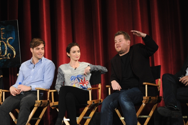 Chris Pine, Emily Blunt and James Corden