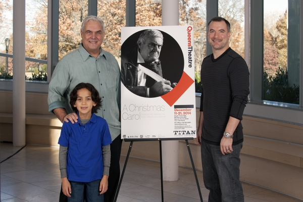 Kevin Loomis (Scrooge), Moore Theobold (Tiny Tim), John Phillips (Bob Cratchit) Photo