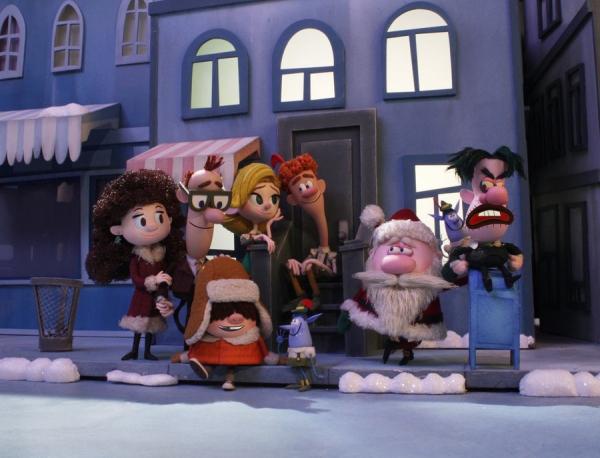 ELF: BUDDY''S MUSICAL CHRISTMAS -- Season 2014 -- Pictured: (l-r) Emily Hobbs, Walter Hobbs, Michael Hobbs, Jovie, Buddy, Santa, Mr. Greenway -- (Photo by: Gary Krueger/Warner Bros. Entertainment Inc./NBC)