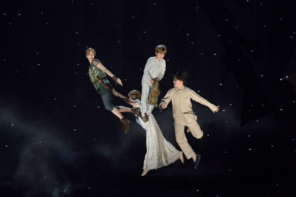 PETER PAN LIVE! -- Dress Rehearsal -- Pictured: (l-r) Allison Williams as Peter Pan, Taylor Louderman as Wendy Darling, John Allyn as Michael Darling, Jake Lucas as John Darling -- (Photo by: Virginia Sherwood/NBC)