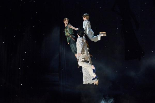 PETER PAN LIVE! -- Dress Rehearsal -- Pictured: (l-r) Allison Williams as Peter Pan, John Allyn as Michael Darling, Jake Lucas as John Darling -- (Photo by: Virginia Sherwood/NBC)