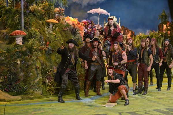 PETER PAN LIVE! -- Dress Rehearsal -- Pictured: (l-r) Chris Sullivan as Noodler, Ryan Andes Admirable Chrichton, Michael Park as Cecco, Christopher Walken as Captain Hook, Austin Lesch as Bill Jukes, Christian Borle as Smee, Gary Milner as The Vicar, John