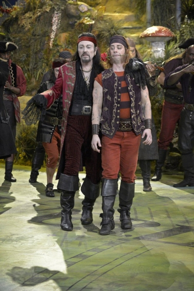 PETER PAN LIVE! -- Dress Rehearsal -- Pictured: (l-r) Christopher Walken as Captain Hook, Christian Borle as Smee -- (Photo by: Virginia Sherwood/NBC)