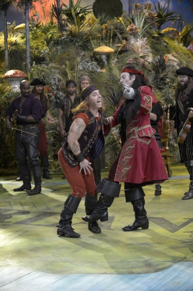 PETER PAN LIVE! -- Dress Rehearsal -- Pictured: (l-r) Christian Borle as Smee, Christopher Walken as Captain Hook -- (Photo by: Virginia Sherwood/NBC)