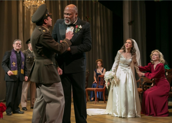 (Raphael Nash Thompson) confronts his son-in-law-to-be Claudio (left, Charles Pasternak_