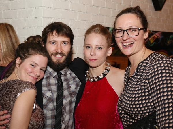 Playwright Charlotte Miller and cast members MacLeod Andrews and Sarah Shaefer pose with Addie Johnson-Talbott