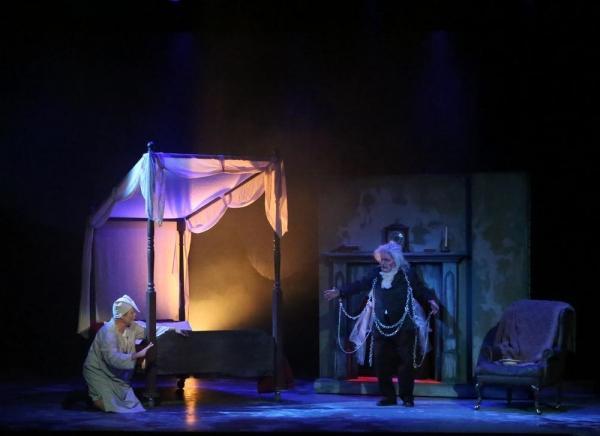 Scrooge (Joel Rainey) and Ghost of Jacob Marley (Alan Payne)