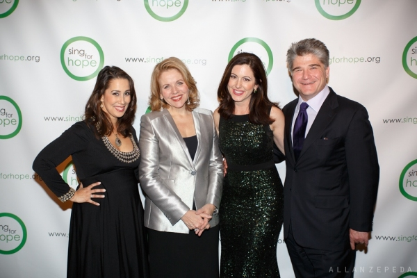 Sing for Hope Co-Founder, Monica Yunus, Gala Featured Performer, Renee Fleming, Sing for Hope Co-Founder Camille Zamora, and Gala Honoree, Jim Woolery.