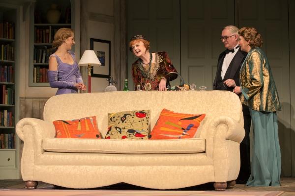 Charlotte Parry as Ruth Condomine, Angela Lansbury as Madame Arcati, Simon Jones as Dr. Bradman and Sandra Shipley as Mrs. Bradman