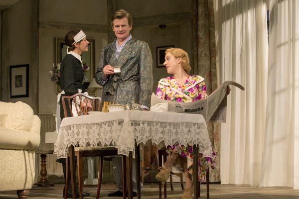 Susan Louise O'Connor as Edith, Charles Edwards as Charles Condomine and Charlotte Parry as Ruth Condomine