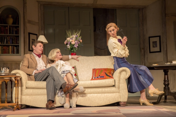Charles Edwards as Charles Condomine, Jemima Rooper as Elvira and Charlotte Parry as Ruth Condomine