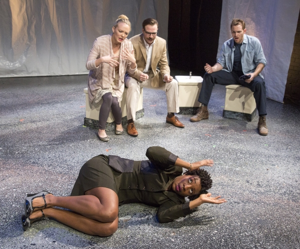"Miriam A. Hyman (front) with Auden Thornton, Robert David Grant and Michael Place in ""Mechanics of Love, Part One"" by Dipika Guha directed by Caitlin Sullivan"