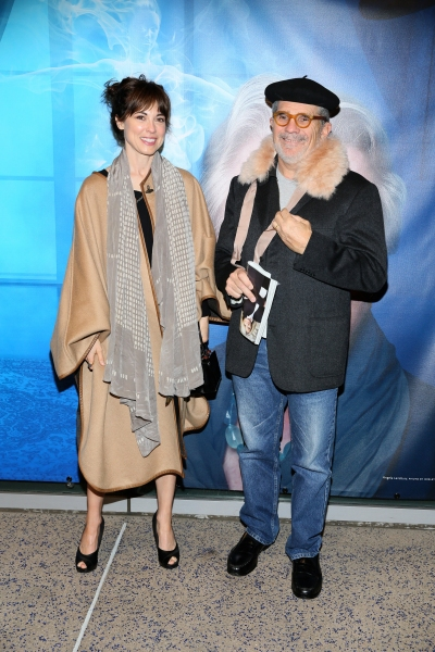 "From left, actress Rebecca Pidgeon and David Mamet arrive for the opening night performance of ""Blithe Spirit"" at Center Theatre Group/Ahmanson Theatre on December 14, 2014, in Los Angeles, California. (Photo by Ryan Miller/Capture Imaging)"
