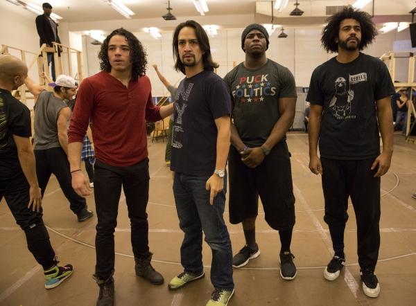 Anthony Ramos, Lin-Manuel Miranda, Okieriete Onaodowan, and Daveed Diggs