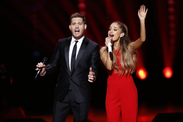 MICHAEL BUBLE'S CHRISTMAS IN NEW YORK -- Pictured: (l-r) Michael Buble, Ariana Grande -- (Photo by: Peter Kramer/NBC)