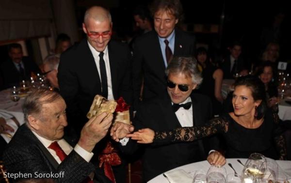 Sirio Maccioni, Vittorio Giordana, US CEO of Urbani Truffles, Marco Maccioni, Andrea Bocelli, Veronica Berti