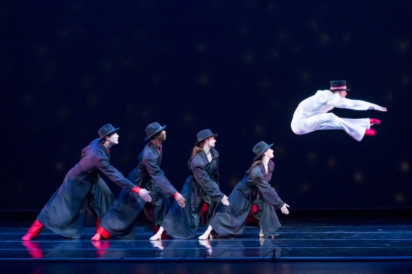 Smuin dancers Robert Moore, Dustin James, Jo-Ann Sundermeier, and Terez Dean with  Joshua Reynolds (leaping) in Frosty the Snowman -  a new work choreographed by Ben Needham-Wood