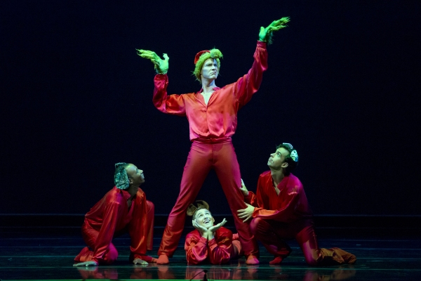 Robert Moore (center) is the featured bad-guy, surrounded by  (l-r) Dustin James, Kevin James, and Ben Needham-Wood in Mean and Green - a new work choreographed by Weston Krukow