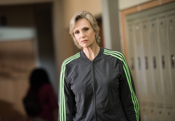"GLEE: Sue (Jane Lynch) overhears a conversation in the ""The Hurt Locker, Part One"" episode of GLEE airing Friday, Jan. 23 (9:00-10:00 PM ET/PT) on FOX. ©2014 Fox Broadcasting Co. CR: Eddy Chen/FOX"