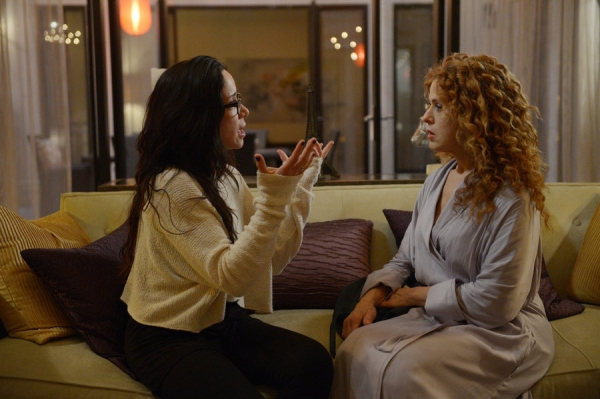 "GIRLFRIENDS' GUIDE TO DIVORCE -- ""Rule #21: Leave Childishness to Children"" Episode 105 -- Pictured: (l-r) Janeane Garofalo as Lyla, Bernadette Peters as Annie -- (Photo by: Sergei Bachlakov/Bravo)"