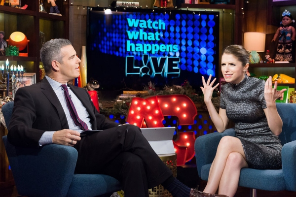 WATCH WHAT HAPPENS LIVE -- Episode 11208 - Pictured: (l-r) Andy Cohen, Anna Kendrick -- (Photo by: Charles Sykes/Bravo)