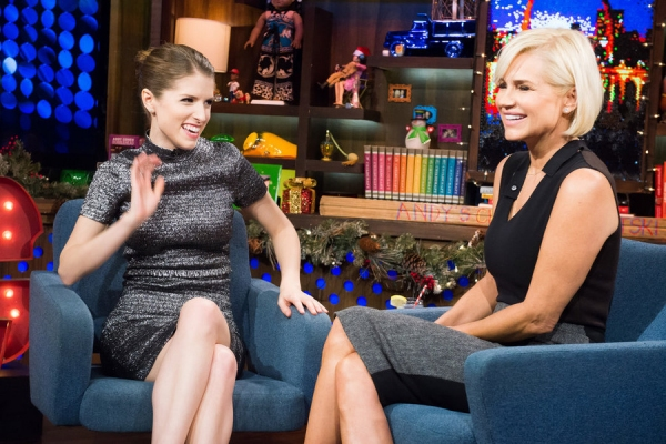 WATCH WHAT HAPPENS LIVE -- Episode 11208 - Pictured: (l-r) Anna Kendrick, Yolanda Foster -- (Photo by: Charles Sykes/Bravo)