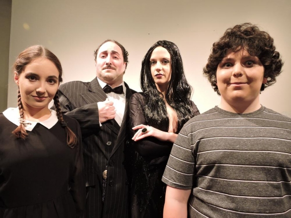 Ashley Wool as Wednesday, John Anthony Lopez as Gomez Addams, Jennifer Silverman as Morticia and Lior Shaham as Pugsley
