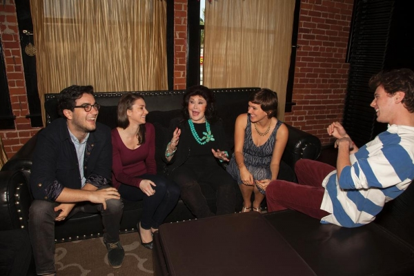 Barbara Van Orden (center) shares stage humorous stage anecdotes about working the Playboy Clubs with contestants Matthew Solomon, Arielle Fishman, Tory Stolper and Jotape Lockwood