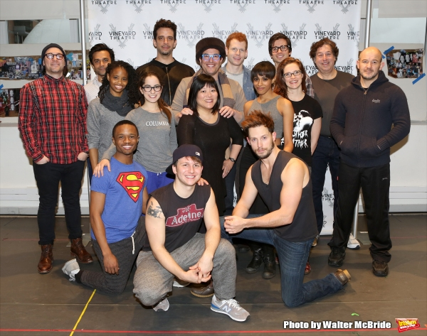 Creative team Peter Lerman, Michael Mayer and Steven Hoggett with The cast; Nick Choksi, John-Michael Lyles, Carla Duren, Nick Cordero, Remy Zaken, Ann Harada, Max Chernin, Gerard Canonico, Nicolette Robinson, Matt Doyle, Grace McLean, Andrew Call and Tom