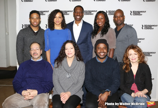Top row: Chris Myers, Carra Patterson, Carl Hendrick Louis, Crystal Lucas-Perry and Maurice Jones; bottom row: Gilbert Cruz, director Giovanna Sardelli, playwright Jeff Augustin, and Deirdre O''Connell