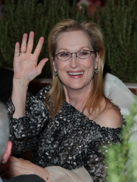 Meryl Streep says hello as Disney celebrates the Golden Globes Best Picture nominated Into the Woods with Meryl Streep, Anna Kendrick, James Corden, Rob Marshall and Executives in Los Angeles, California on Saturday, January 10, 2015. (Photo: Alex J. Berl