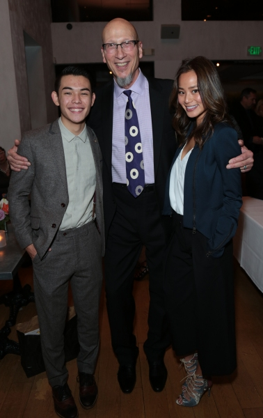 Ryan Potter, Roy Conli and Jamie Chung arrive as Disney celebrates their 2015 Golden Globes nominees from Into the Woods, Big Hero 6, and The Hundred-Foot Journey in Los Angeles, California on Saturday, January 10, 2015. (Photo: Alex J. Berliner/ABImages)