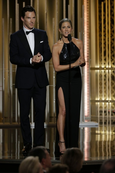72nd ANNUAL GOLDEN GLOBE AWARDS -- Pictured: (l-r) Benedict Cumberbatch, Jennifer Aniston, Presenters at the 72nd Annual Golden Globe Awards held at the Beverly Hilton Hotel on January 11, 2015 -- (Photo by: Paul Drinkwater/NBC)