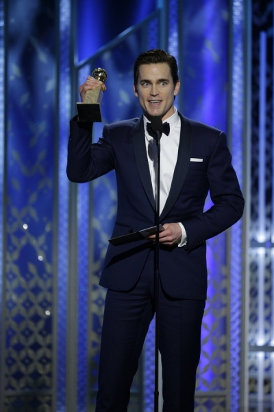 "72nd ANNUAL GOLDEN GLOBE AWARDS -- Pictured: Matt Bomer, ""The Normal Heart"", Winner, Best Supporting Actor - Series/Mini-Series/TV Movie at the 72nd Annual Golden Globe Awards held at the Beverly Hilton Hotel on January 11, 2015 -- (Photo by: Paul Drinkwa"