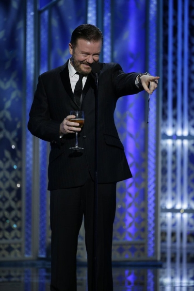 72nd ANNUAL GOLDEN GLOBE AWARDS -- Pictured: Ricky Gervais, Presenter at the 72nd Annual Golden Globe Awards held at the Beverly Hilton Hotel on January 11, 2015 -- (Photo by: Paul Drinkwater/NBC)