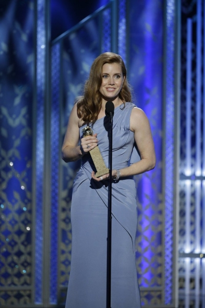 "72nd ANNUAL GOLDEN GLOBE AWARDS -- Pictured: Amy Adams, ""Big Eyes"", Winner, Best Actress - Motion Picture, Comedy or Musical at the 72nd Annual Golden Globe Awards held at the Beverly Hilton Hotel on January 11, 2015 -- (Photo by: Paul Drinkwater/NBC)"