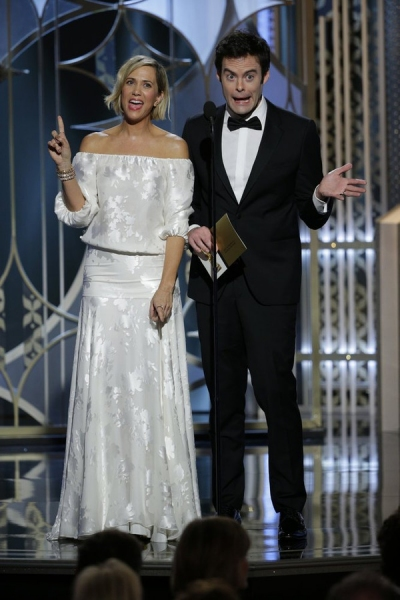 72nd ANNUAL GOLDEN GLOBE AWARDS -- Pictured: (l-r) Kristen Wiig, Bill Hader, Presenters at the 72nd Annual Golden Globe Awards held at the Beverly Hilton Hotel on January 11, 2015 -- (Photo by: Paul Drinkwater/NBC)