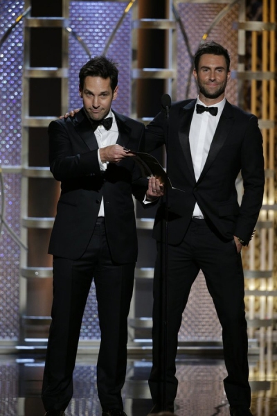 72nd ANNUAL GOLDEN GLOBE AWARDS -- Pictured: (l-r) Paul Rudd, Adam Levine, Presenters at the 72nd Annual Golden Globe Awards held at the Beverly Hilton Hotel on January 11, 2015 -- (Photo by: Paul Drinkwater/NBC)