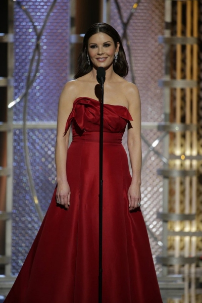 72nd ANNUAL GOLDEN GLOBE AWARDS -- Pictured: Catherine Zeta-Jones, Presenter at the 72nd Annual Golden Globe Awards held at the Beverly Hilton Hotel on January 11, 2015 -- (Photo by: Paul Drinkwater/NBC)