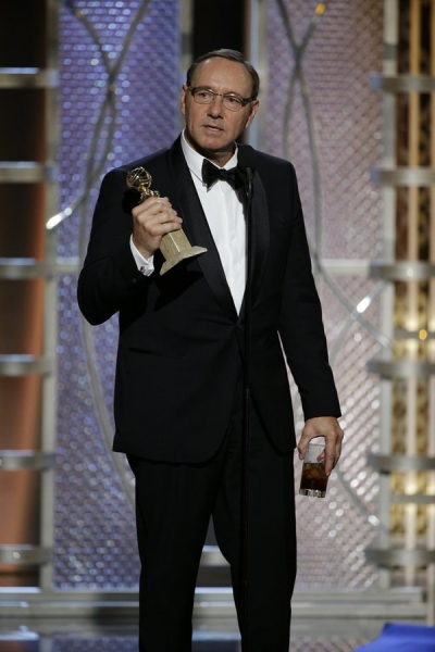 "72nd ANNUAL GOLDEN GLOBE AWARDS -- Pictured: Kevin Spacey, ""House of Cards"", Winner, Best Actor -TV Series, Drama at the 72nd Annual Golden Globe Awards held at the Beverly Hilton Hotel on January 11, 2015 -- (Photo by: Paul Drinkwater/NBC)"