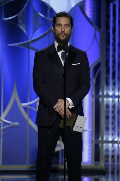 72nd ANNUAL GOLDEN GLOBE AWARDS -- Pictured: Matthew McConaughey, Presenter at the 72nd Annual Golden Globe Awards held at the Beverly Hilton Hotel on January 11, 2015 -- (Photo by: Paul Drinkwater/NBC)