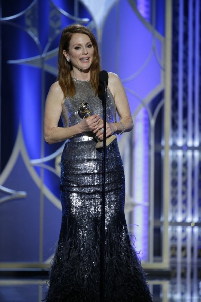 "72nd ANNUAL GOLDEN GLOBE AWARDS -- Pictured: Julianne Moore, ""Still Alice"", Winner, Best Actress - Motion Picture, Drama at the 72nd Annual Golden Globe Awards held at the Beverly Hilton Hotel on January 11, 2015 -- (Photo by: Paul Drinkwater/NBC)"