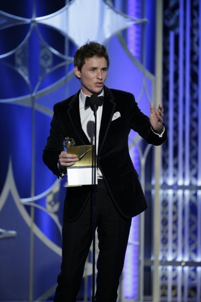 "72nd ANNUAL GOLDEN GLOBE AWARDS -- Pictured: Eddie Redmayne, ""The Theory of Everything"", Winner, Best Actor - Motion Picture, Drama at the 72nd Annual Golden Globe Awards held at the Beverly Hilton Hotel on January 11, 2015 -- (Photo by: Paul Drinkwater/N"