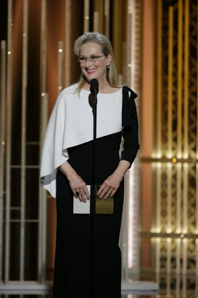 72nd ANNUAL GOLDEN GLOBE AWARDS -- Pictured: Meryl Streep, Persenter at the 72nd Annual Golden Globe Awards held at the Beverly Hilton Hotel on January 11, 2015 -- (Photo by: Paul Drinkwater/NBC)