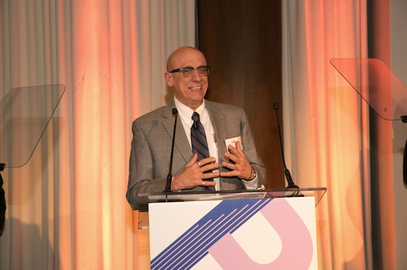 Broadway Cares/Equity Fights AIDS Executive Director Tom Viola accepts his 2015 June Briggs Award, January 12, 2015.