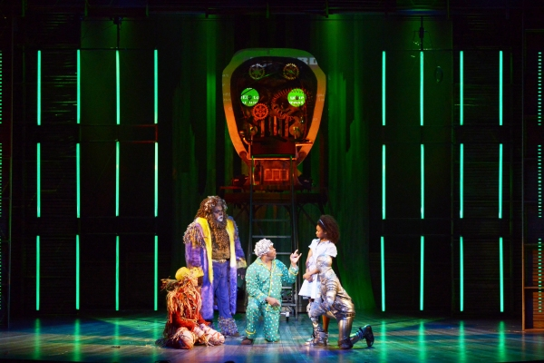 The four friends (from left: David LaMarr, Trevor Dion Nicholas, Destinee Rea and Tyrick Wiltez Jones) surround the Wiz (Kingsley Leggs, center)