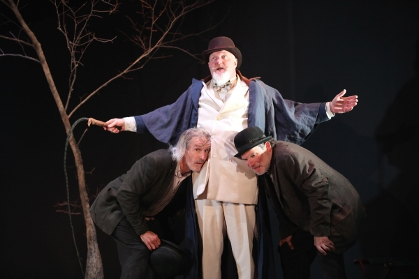 Bruce Cromer as Estragon, Jim Hopkins as Pozzo and Nicholas Rose as Vladimir