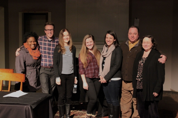 Hallie Foote and some of the cast members of Raven Theatre's Dividing the Estate. Pictured (left to right): BrittneyLove Smith, Cody Estle, Hallie Foote, Angela Sandall, Kathryn Acosta, Jon Steinhagen and JoAnn Montemurro.