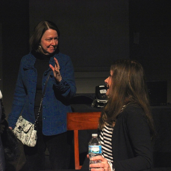 Hallie Foote (right) discussing Dividing the Estate with cast member Millie Hurley-Spencer at ''A Conversation with Hallie Foote about Horton Foote''